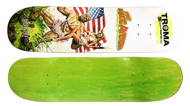 The Toxic Avenger skateboard deck printed by RiotStyle