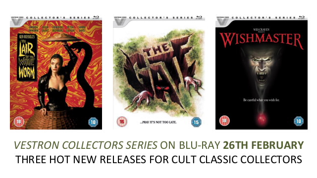Vestron Collector's Series Blu-rays of THE LAIR OF THE WHITE WORM, THE GATE AND WISHMASTER Available 26th February