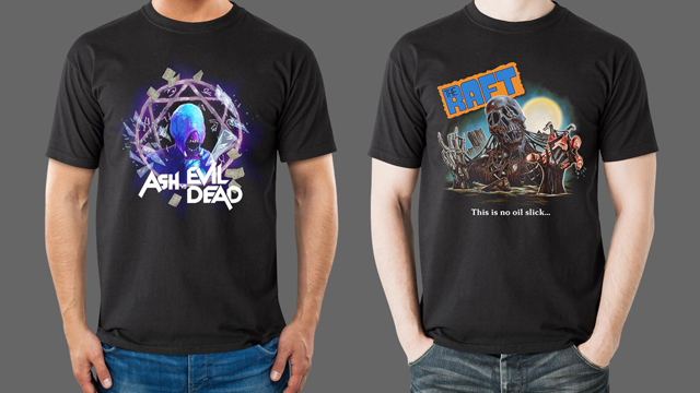 Come Get Some ASH vs EVIL DEAD, CREEPSHOW 2, and KILLER KLOWNS FROM OUTER SPACE Apparel from Fright-Rags
