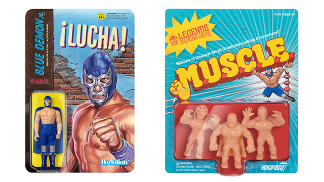 Super7 LEGENDS OF LUCHA LIBRE ReAction & M.U.S.C.L.E. Figures: Blue Demon Jr., Solar & Tinieblas Jr.