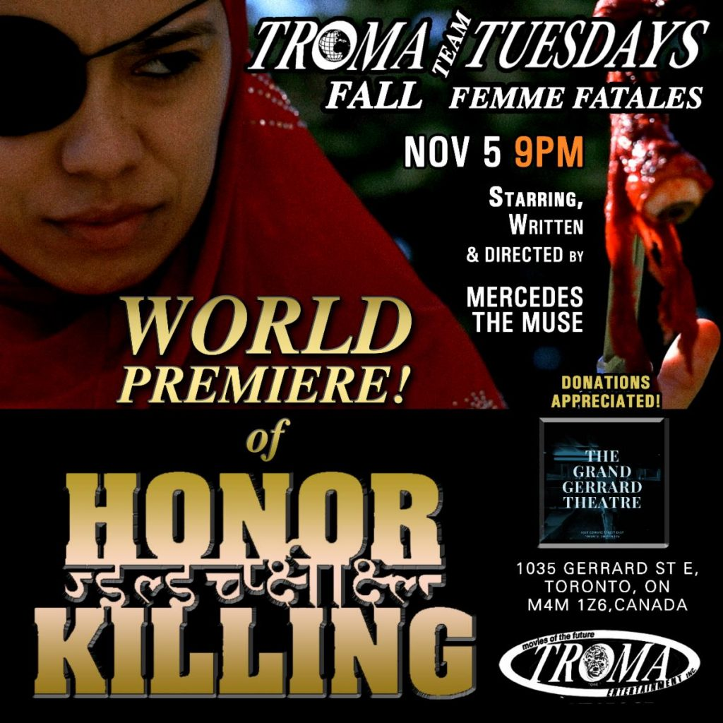 Troma Tuesdays: Femme Fatale Revenge Thriller HONOR KILLING Screening November 5th at Film Noir Cinema, NYC and The Grand Gerrard, Toronto!