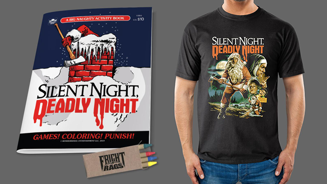 Santa's Here with SILENT NIGHT, DEADLY NIGHT Apparel, Trading Cards & Activity Books from Fright-Rags