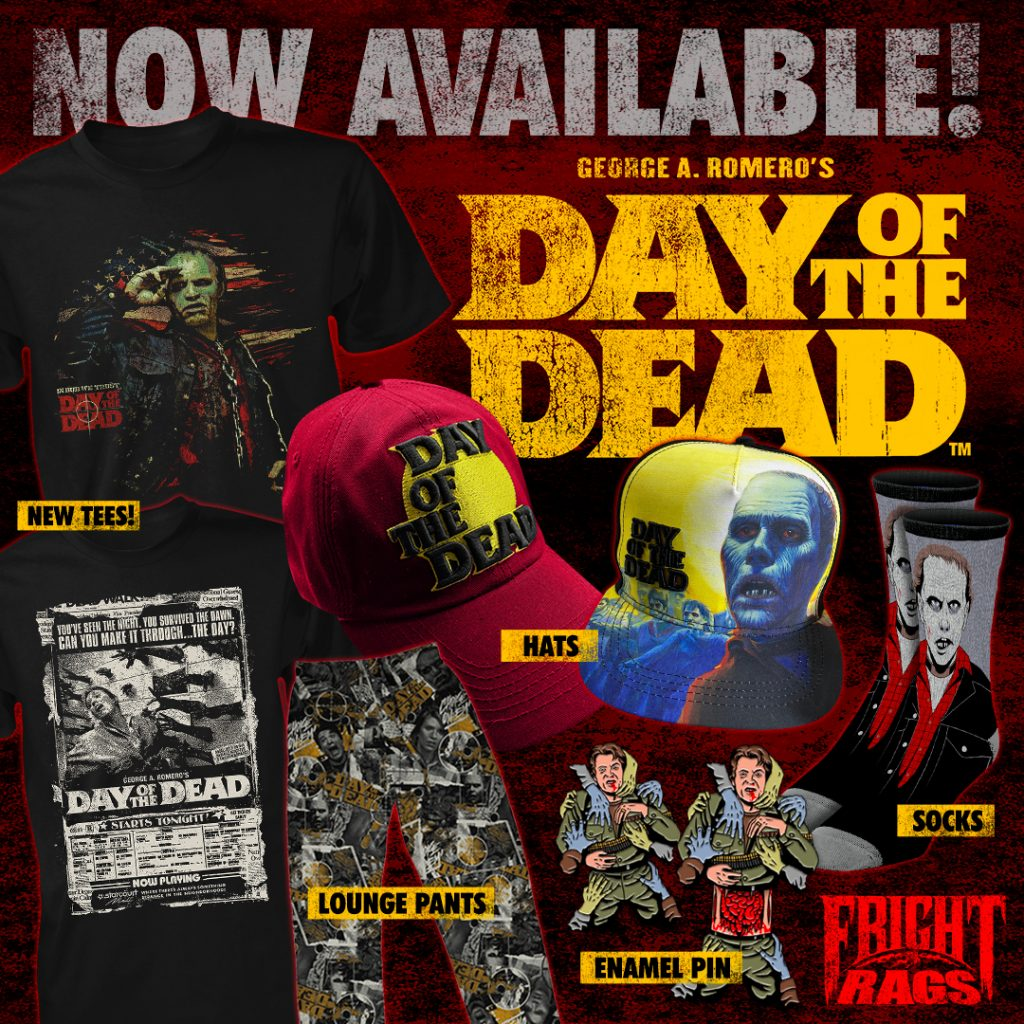 Fright-Rags Breaks New Ground with TREMORS, DAY OF THE DEAD, AMERICAN WEREWOLF IN LONDON & THE EVIL DEAD/EVIL DEAD 2 Apparel