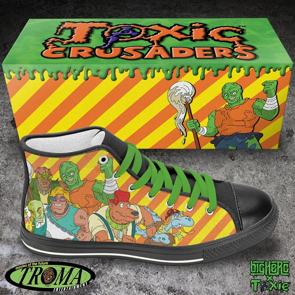 Big Herc & Troma Entertainment Team Up For Exclusive Toxic Crusaders High Tops & The Toxic Avenger Slip Ons!