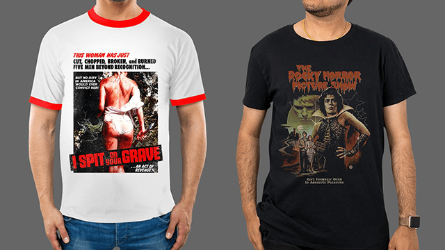 I SPIT ON YOUR GRAVE & THE ROCKY HORROR PICTURE SHOW Apparel from Fright-Rags