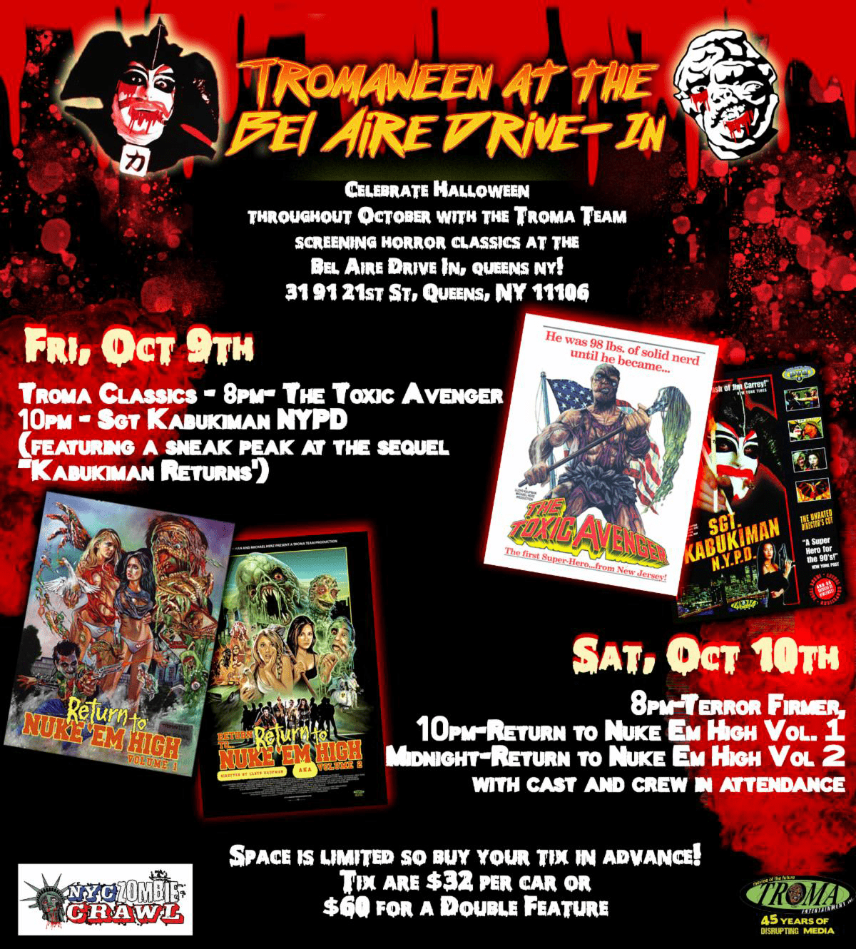 Tromaween in Troma-Queens at the Legendary Bel Aire Diner, NYC! Blow Off Some Quarantine Steam This October with a Month Long Monster Mash of Tricks & Treats