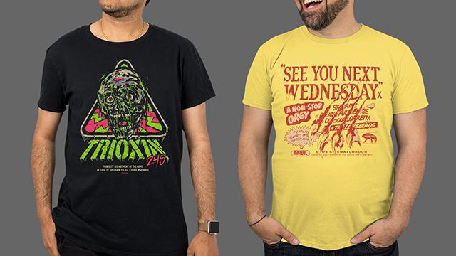 HALLOWEEN II, THE RETURN OF THE LIVING DEAD, CHILDREN OF THE CORN, AN AMERICAN WEREWOLF IN LONDON & THE HILARIOUS HOUSE OF FRIGHTENSTEIN Apparel Available from Fright-Rags