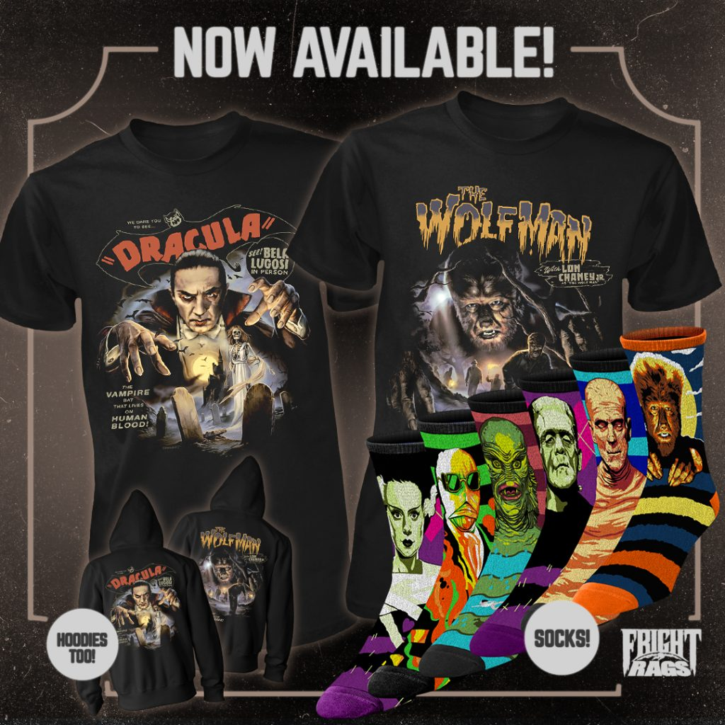 Sink Your Claws into UNIVERSAL MONSTERS, TRICK 'R TREAT, THE PEOPLE UNDER THE STAIRS, ELVIRA & CREEPSHOW Apparel from Fright-Rags